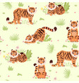 seamless pattern with cute tigers and plants vector image vector image
