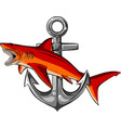 shark with anchor design vector image