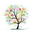 sketch floral tree for your design vector image vector image