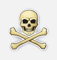 sticker skull jolly roger with crossbones vector image vector image