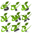 Swoosh Green Alphabet Logo Set3 vector image