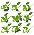 Swoosh Green Alphabet Logo Set3 vector image vector image