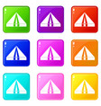 tourist camping tent set 9 vector image vector image