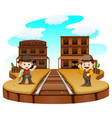 two cowboys holding gun and standing outside vector image vector image