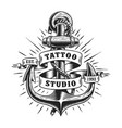 vintage marine tattoo label vector image