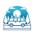 vintage van vehicle in the forest vector image vector image