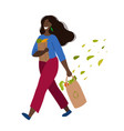 walking happy african woman with purchases vector image vector image