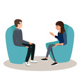 woman and man are seating in chairs and discussing vector image vector image