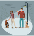 young people walk in the park with their dogs vector image