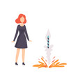 young woman watching explosion firework rocket vector image vector image