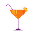 margarita glass with citrus cocktail flat vector image