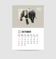 2017 October calendar elephant polygon vector image vector image
