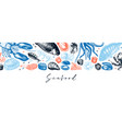 banner with hand drawn seafood fresh fish vector image