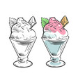 black and coloring ice cream sketch vector image