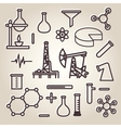 Black line minimalistic science icons set vector image