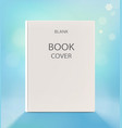 Blank vertical book cover on a light blue backdrop vector image vector image