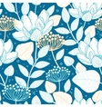 blue gold floral seamless pattern vector image