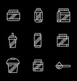bodybuilding supplements white line icons vector image vector image