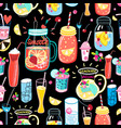 bright pattern delicious cocktails vector image