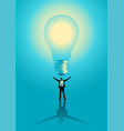 businessman with giant bulb on top him vector image vector image