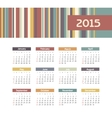 Calendar 2015 year with colored lines vector image vector image