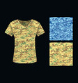 camouflage pattern shirt template vector image