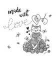 card knitting theme with cute cat and lettering vector image
