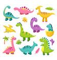 cartoon dinosaur cute baby dino vector image