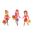 christmas shopping female girlfriends shoppers vector image vector image