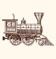 engraved vintage hand drawn old locomotive vector image vector image