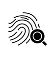 fingerprint recognition black icon concept vector image vector image