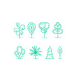 flat linear tree icons set vector image vector image