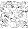 funny cats black and white seamless pattern vector image vector image