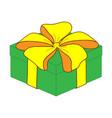green close gift box sign 2712 vector image vector image
