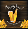 happy-hour-beer-chips-wood vector image