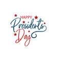 happy presidents day with stars and ribbon hand vector image vector image