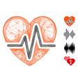 hatched heart diagram mesh vector image vector image