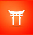 japan gate on orange background torii gate sign vector image vector image