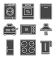 Kitchen appliance gray solid icons vector image vector image