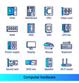 line color gradient side computer hardware icons vector image