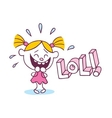 LOL laughing out loud little cute girl vector image vector image