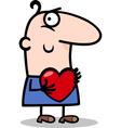 man with heart cartoon vector image vector image