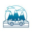 off road sport truck between mountains landscape vector image