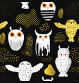 owls seamless pattern in childish style vector image