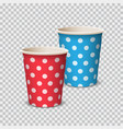 paper cup color with polka dot for beverages vector image