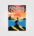 paradise beach vintage poster pelican bird design vector image vector image