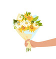person giving flowers bouquet romance and gift vector image vector image