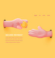 realistic hand give golden bitcoin to other vector image vector image