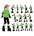 roller girls silhouettes vector image