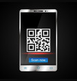 scanning qr code on smartphone vector image vector image